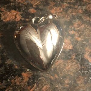 Jewelry - XL Puffed Silver Heart Pendant